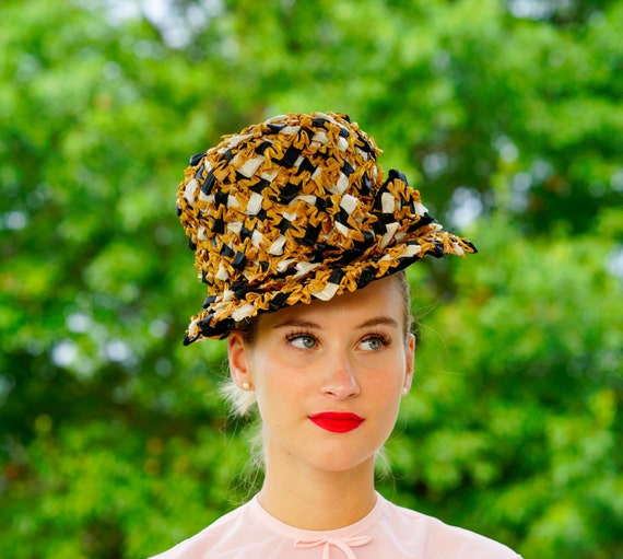 Vintage Straw cloche Hat, Vintage Bucket Hat, 1950