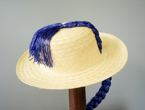 Vintage Straw Boater Pigtail Hat with Hat Box, No… - image 7