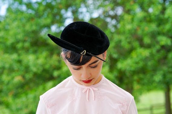 Vintage Black Velour Feather Half Hat, Close Hat,