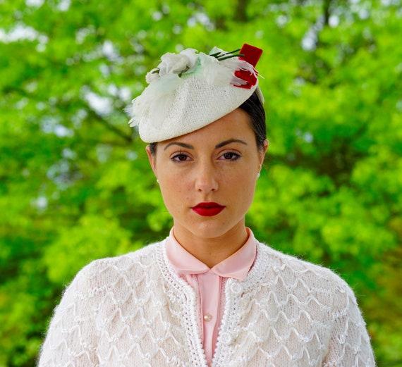 Vintage floral Half Hat, Juliet Cap Hat, 1950s Hat