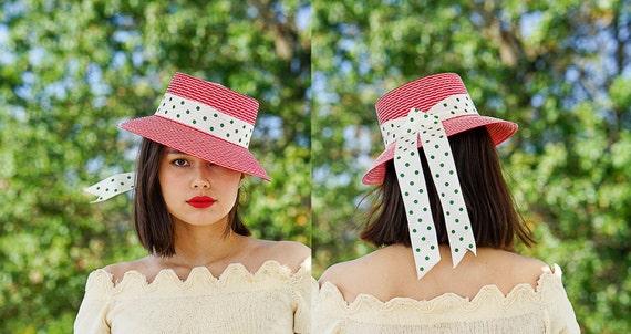 Vintage Straw Sun Hat, Boater Hat, 1950s Hat, Vint