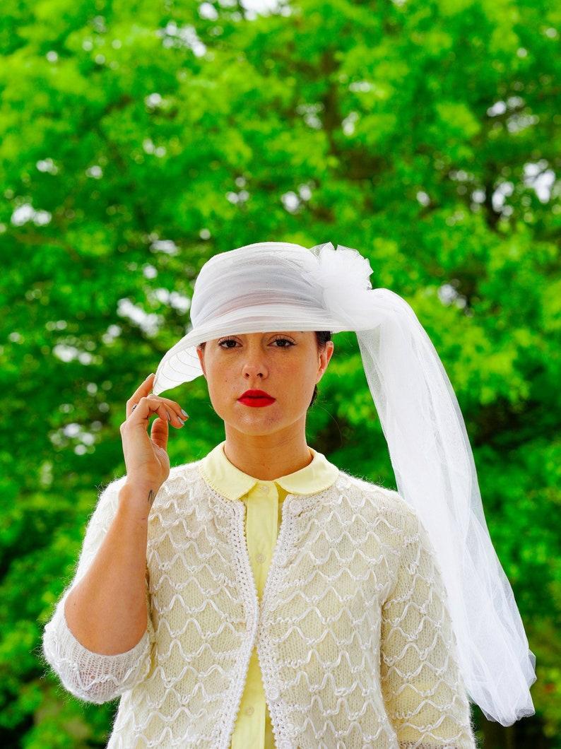 7e663e855 Vintage White Hat with Veil, Vintage Hat, Wedding Bridal Hat, 1970s Hat,  Vintage Millinery, Tea Party Hat, Sun Hat, Boater Hat, Veil Hat
