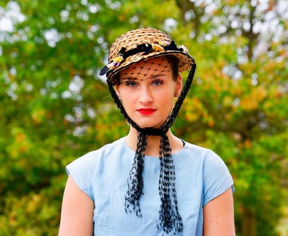 Vintage 1940s Straw Sailor Hat, Easter Bonnet Hat,