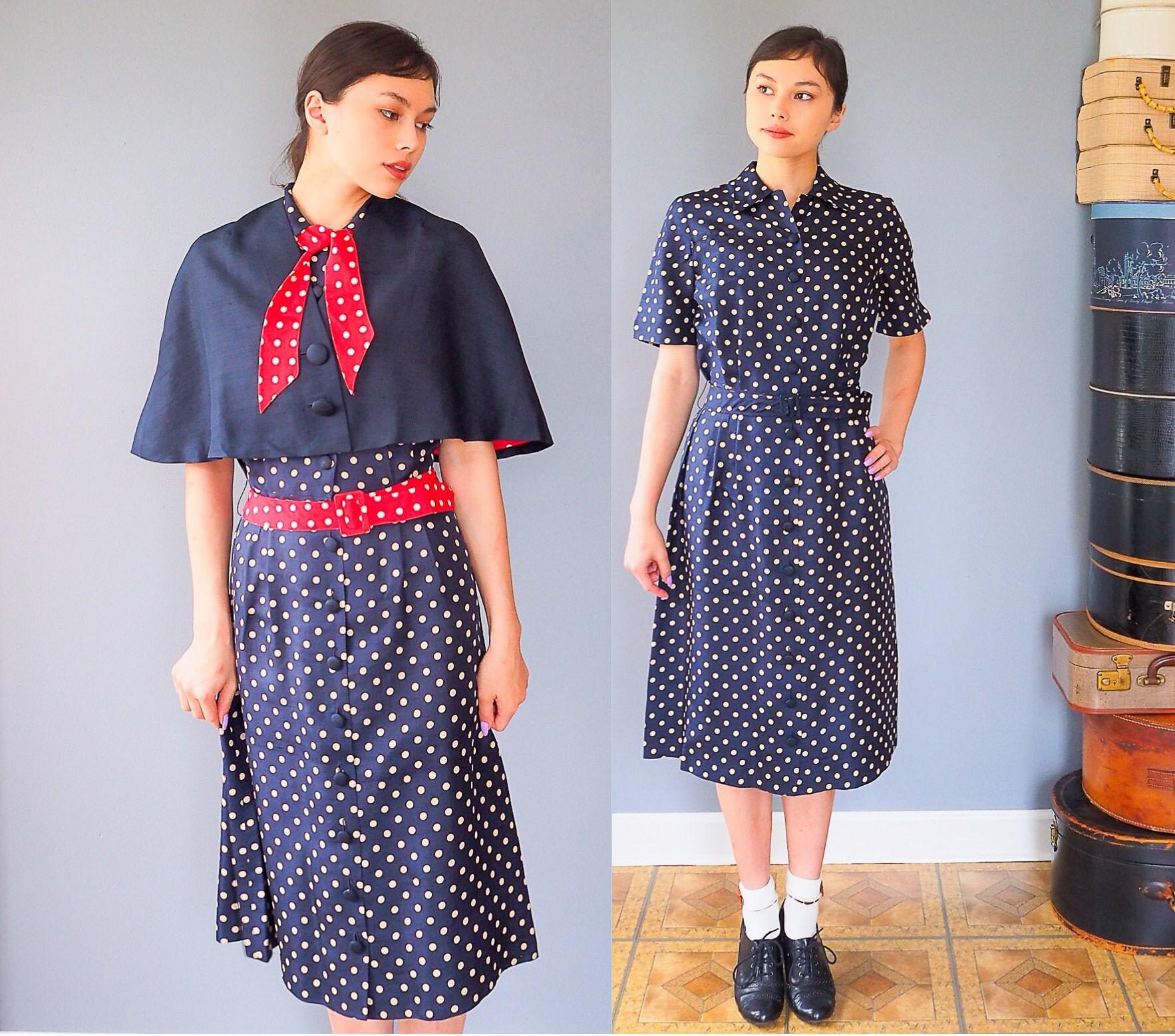 Vintage Scarf Styles -1920s to 1960s Vintage 1950S Cape Polka Dot Dress  Bolero Jacket Size M Two Piece Dress Retro Clothing Day $220.00 AT vintagedancer.com