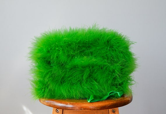 Vintage Marabou Feather Hat Hand Muff Set, 1950s … - image 8