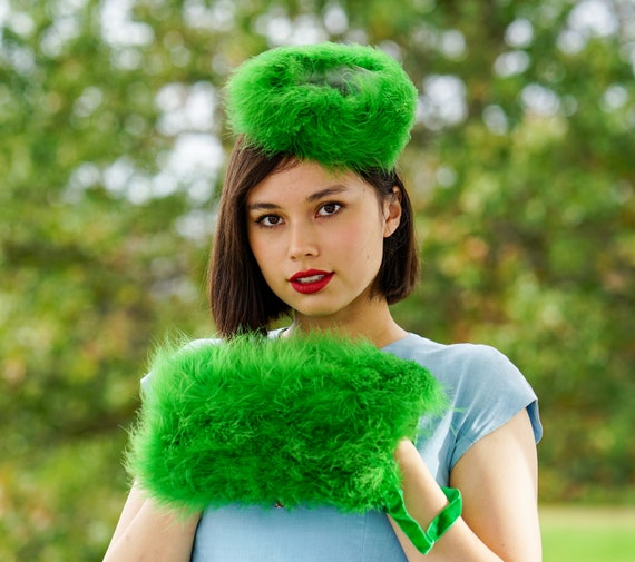 Vintage Marabou Feather Hat Hand Muff Set, 1950s … - image 2