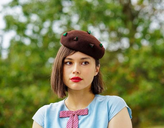 Vintage Wool Half Hat, 1950s Hat, Vintage Hat, Vin