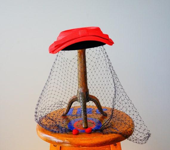 Vintage Straw Boater Veil Hat, 1950s Hat, Half Hat