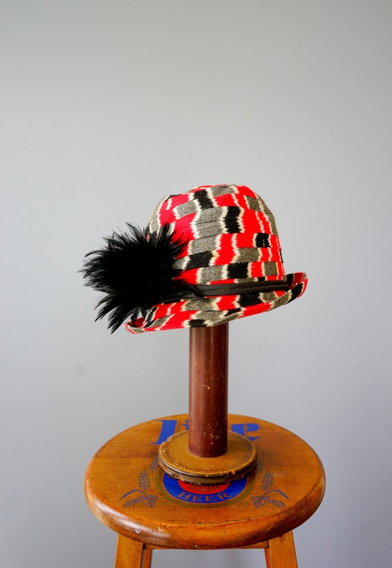 Vintage Felt Fedora Hat with Feather, 1960s-1970s… - image 5