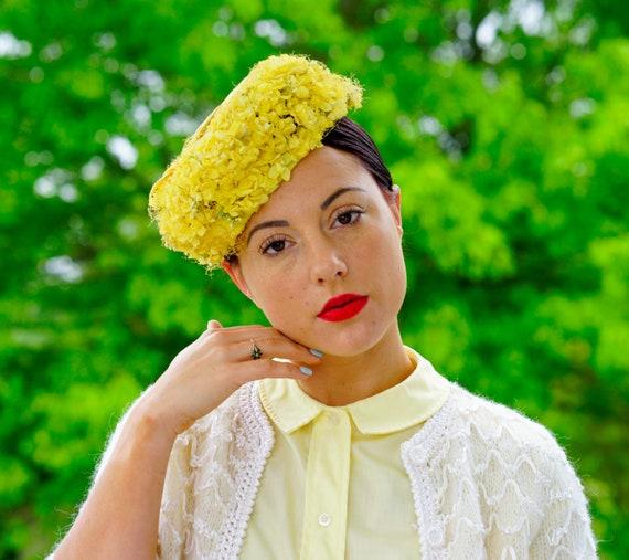 Vintage Floral Hat, Pillbox Hat, Vintage Hat, Vint