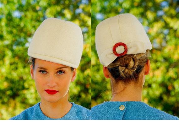 Vintage Fur Felted Cloche Hat, 1960s Mod Hat, Fur