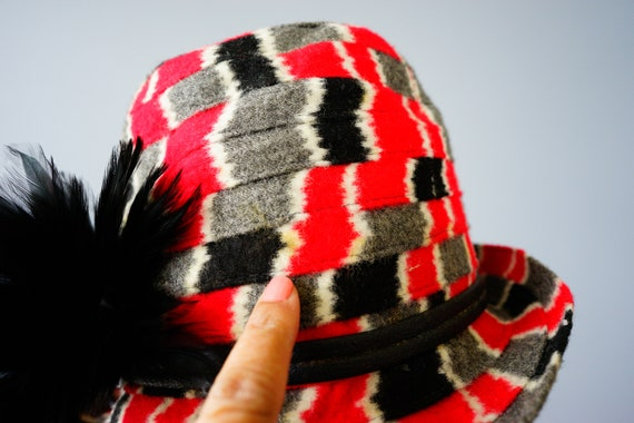 Vintage Felt Fedora Hat with Feather, 1960s-1970s… - image 10