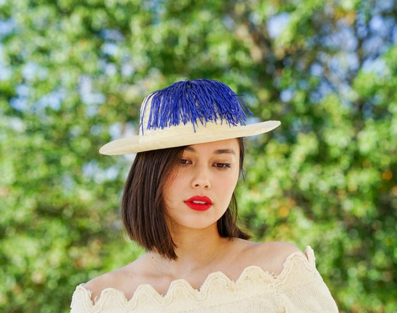 Vintage Straw Boater Pigtail Hat with Hat Box, No… - image 2