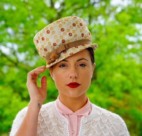Vintage Velvet Cloche Hat with Floral Bucket Hat Church Hat Vintage Hat Vintage Mod Hat Vintage Millinery Winter Hat 1950s-60s Hat