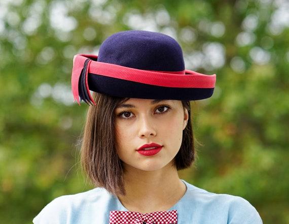 Vintage Wool Felt Breton Hat, Women Bowler Hat, V… - image 2