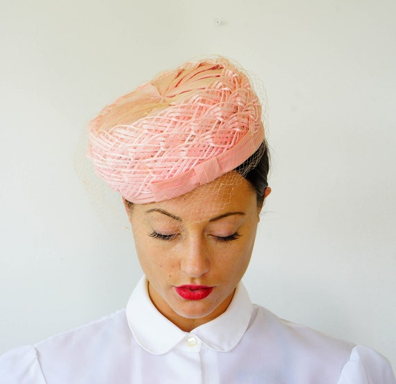 Vintage Pink Straw Pillbox Hat, Vintage Hat, 1960s