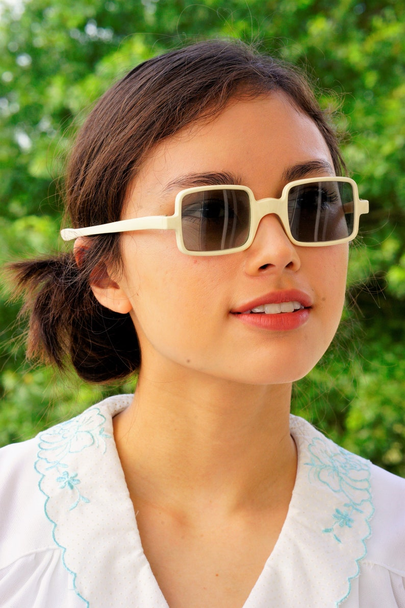 47049bb3b Vintage Sunglasses 1960s rectangle Shape/whitetone/pop | Etsy