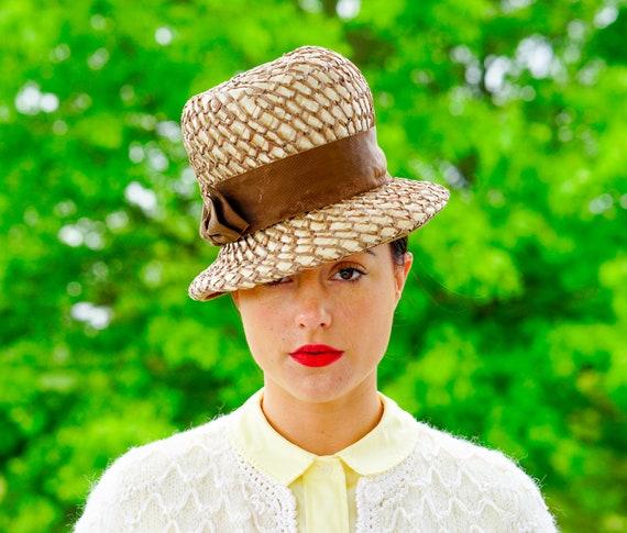Straw Hat Vintage Hat 1960s Hat Bucket Hat Kentucky Derby Hat Vintage Mod Hat Vintage Millinery Wedding Hat Vintage Straw Cloche Hat