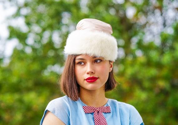 Vintage Schiaparelli hat with Hat Box, Vintage Fur