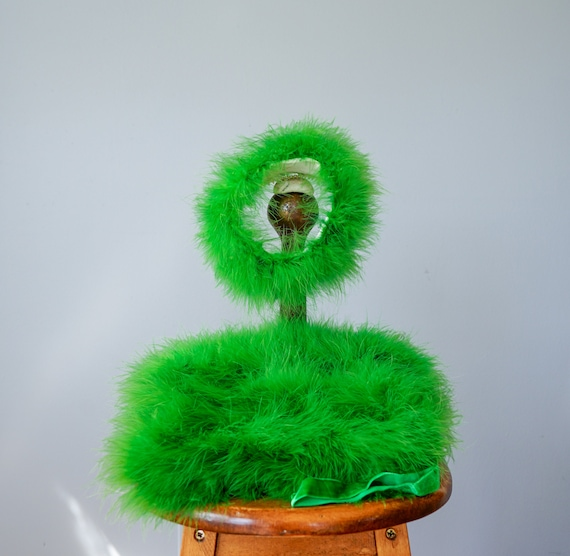 Vintage Marabou Feather Hat Hand Muff Set, 1950s … - image 5