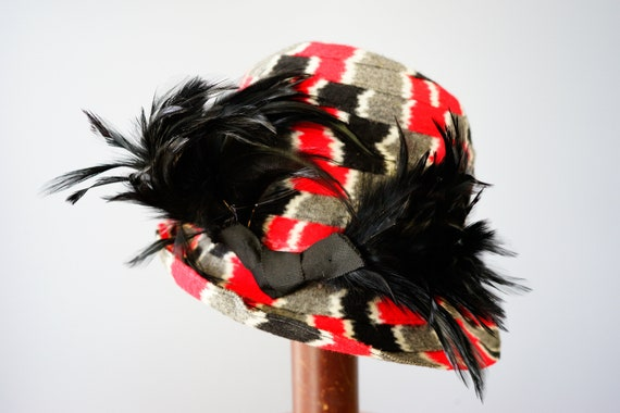 Vintage Felt Fedora Hat with Feather, 1960s-1970s… - image 4