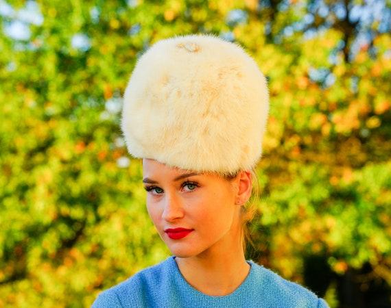 Vintage Rabbit Fur Cossack Hat, Cloche Hat, Vintag