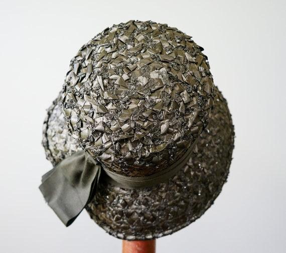 Vintage Straw Bucket Hat, Cloche Hat, 1950s-60s H… - image 8