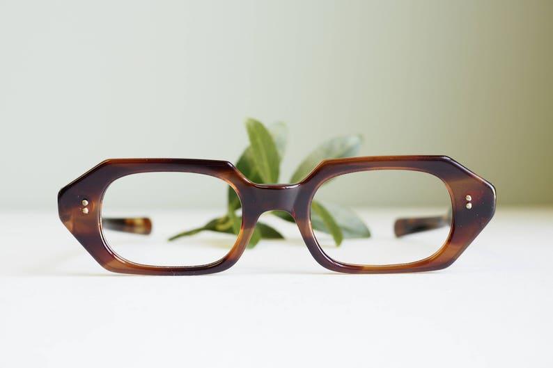 7a8d0cc983ec Vintage Eyeglass 1960s Octagon Shaped Tortoiseshell Frames New | Etsy