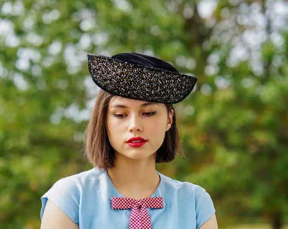 Vintage Black Velvet Breton Hat, Women Bowler Hat,