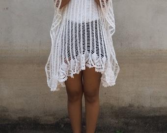 Vintage White Crochet Top, Boho Poncho, White Kaftan, vintage repurposed Crochet