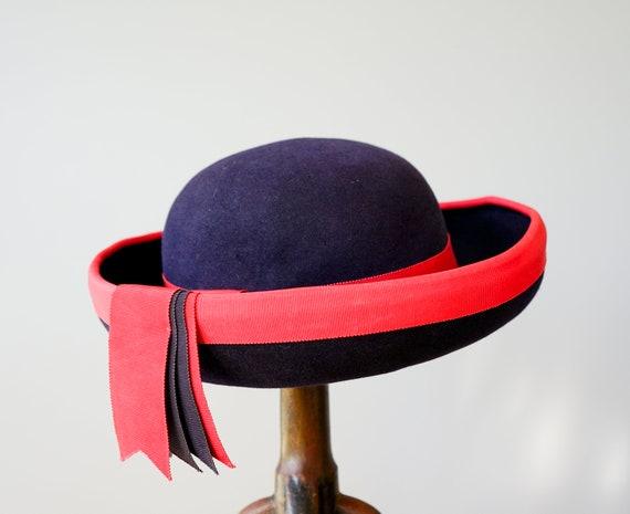 Vintage Wool Felt Breton Hat, Women Bowler Hat, V… - image 8