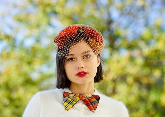 Black Velvet Hat Half Hat with Veil 1950s Hat Juliet Cap Crescent Hat Casque Hat Capulet Hat 1950s Accessories Vintage Hat with Veil