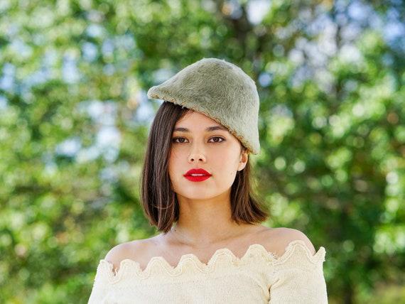 Vintage Fur Felt Half Hat, Tilt Hat, 1950s Hat, Vi