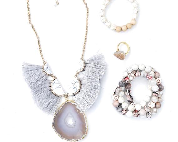 Fringe Necklace with Bracelets and aromatherapy FREE SHIPPING