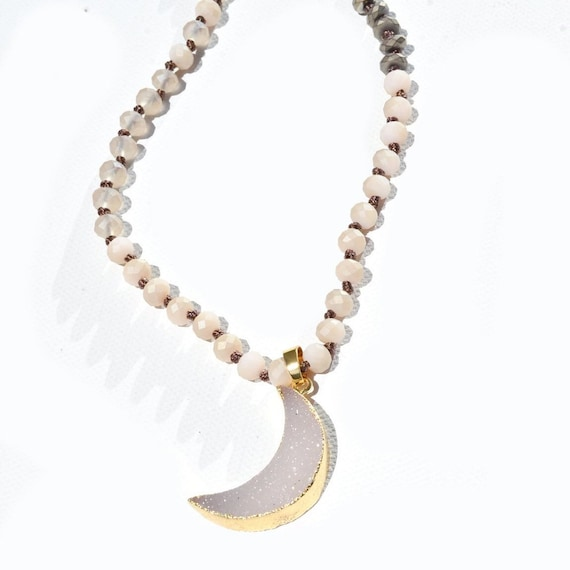 Natural toned skinny layering beaded half-moon druzy necklace