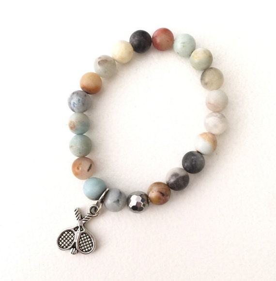 Beautiful silver tennis racquet charm amazonite stone beaded bracelet pastels