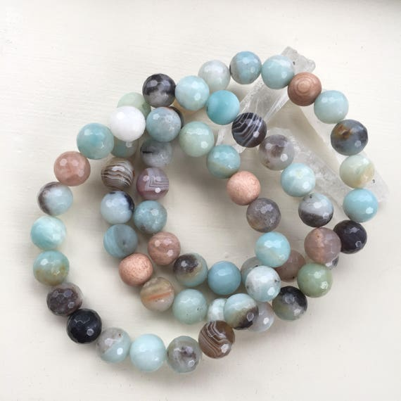 10mm stackable beaded stretchy agate amazonite 3 bracelets rosewood Botswana Agate diffuser doterra young living