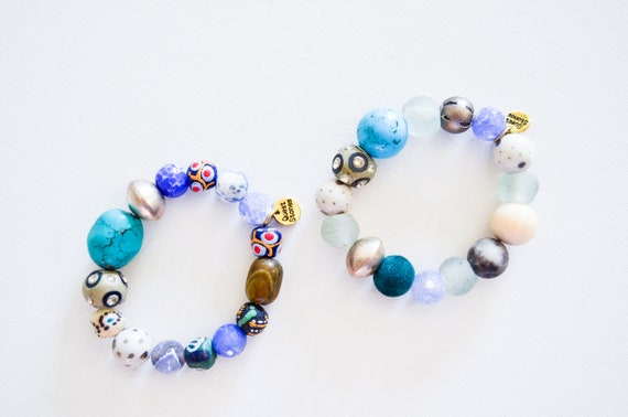 Gallery Collection: Blues Sea glass, fair trade, unique bracelets