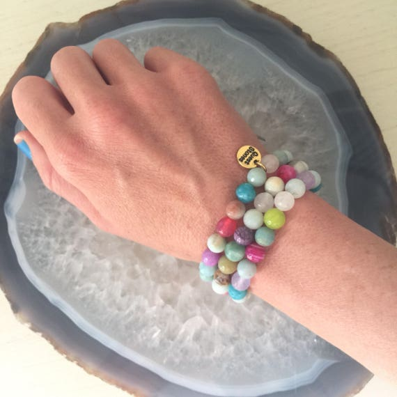 8mm Full set of colorful stone energy agate  amazonite amethyst rosequartz jade beaded bracelets