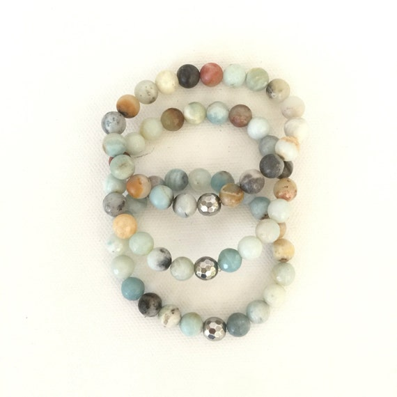 8mm size Semi Precious natural stone stackable beaded stretchy agate matte amazonite bracelets stackable bracelets