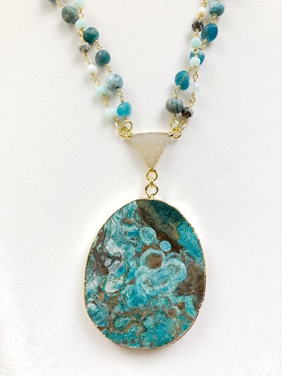Blue ocean jasper apatite larimar rosary druzy necklace Free 1-3 day shipping