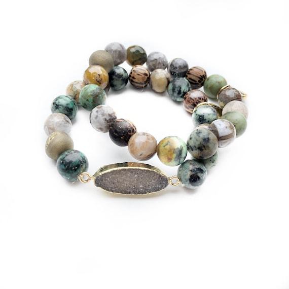 Bracelet Set African turquoise druzy bracelets