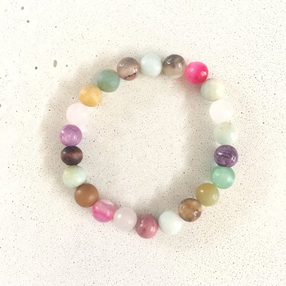 8mm Single 1 colorful stone add-on energy agate stone amazonite amethyst rosequartz jade bracelet