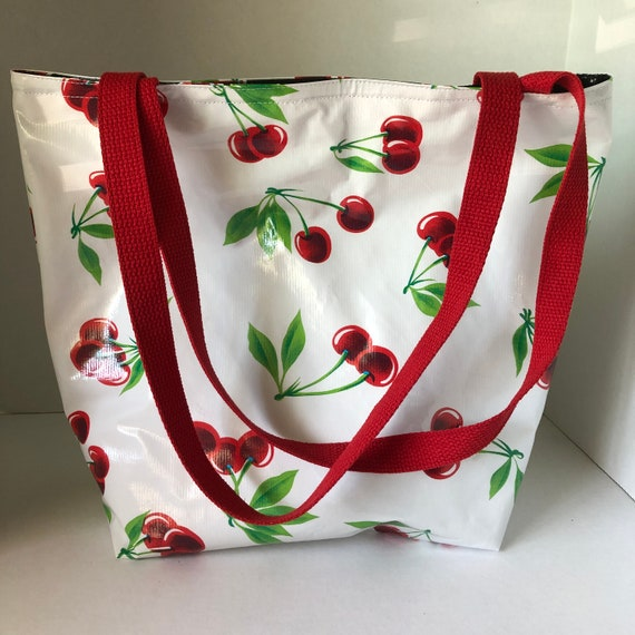 Large Lined Oilcloth Bag in Red and Black