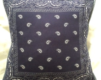 "NEW! Retro Blue Bandana Tie-Back Pillow Cover Chambray Piping  100% Cotton for 16"" - 18"""