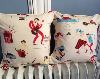 "NEW! Retro Bobby Sock Rock Pillow Cover With Piping Envelope Back Cotton for 16"" - 17"""