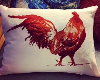 "NEW! Retro Rooster Pillow 12x16"" 100% Cotton Cover with Insert Zipper Closure"