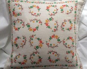 "NEW! Vintage Cotton Handlerchief 10"" Pillow Cover and Insert w/Envelope Back"