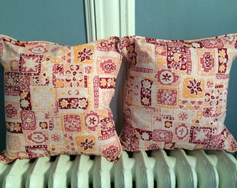 "NEW! Vintage Pink Tiki Pillow Cover With Piping Envelope Back Cotton for 16"" - 17"""