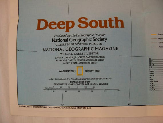 Vintage 1983 National Geographic Map of Deep South